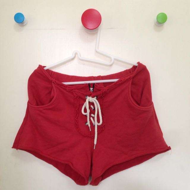 二手-綁帶拉鍊紅色棉質低腰休閒短褲