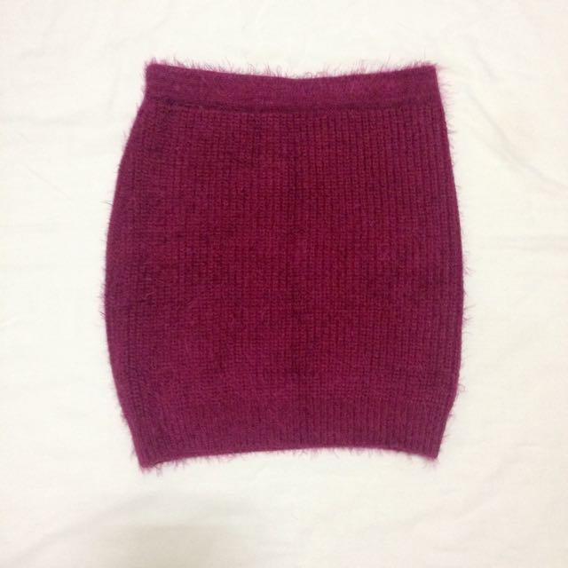 深紫紅針織彈性裙