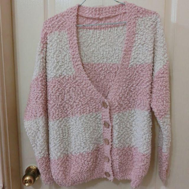 粉白條紋造型毛外套