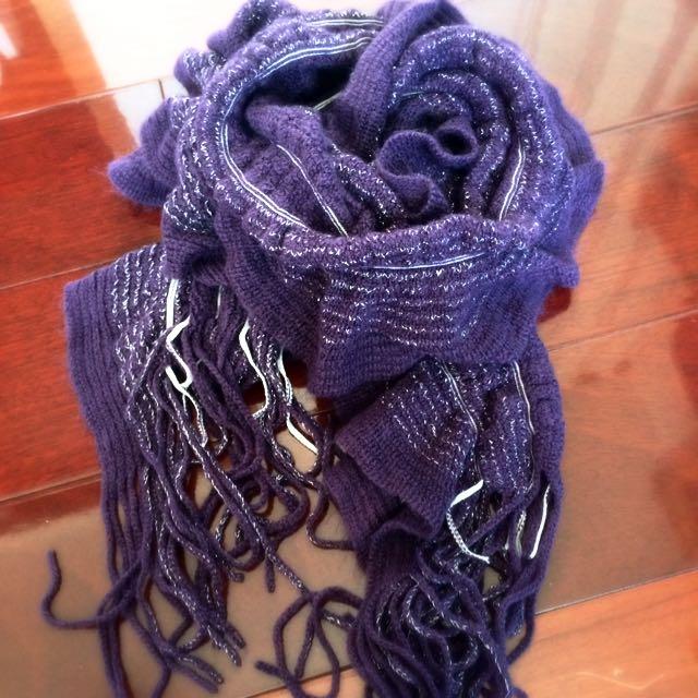 全新 紫色造型圍巾