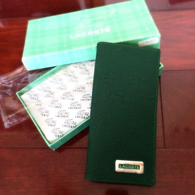全新 Lacoste 綠logo皮夾