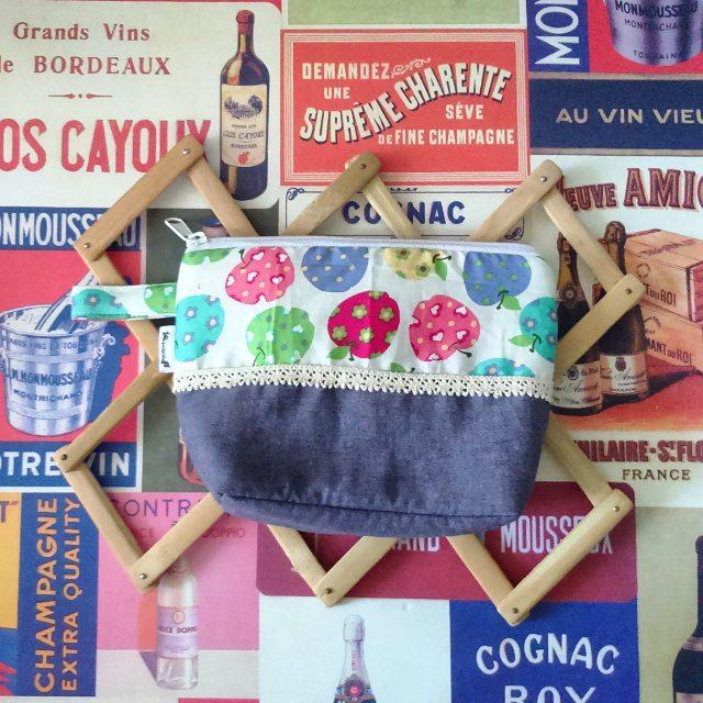 apple denim pouch