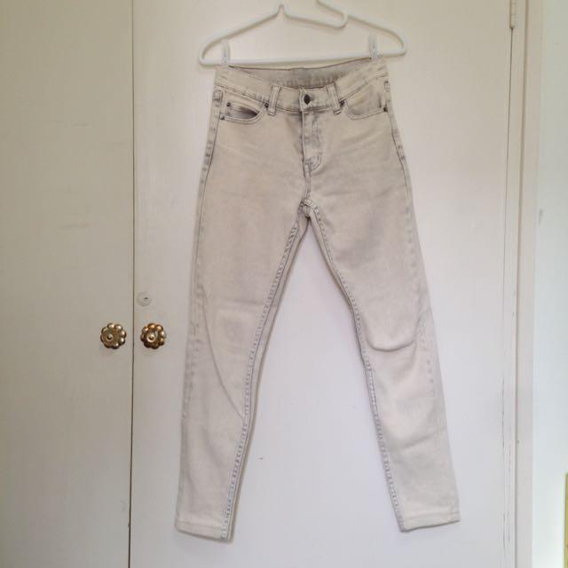 二手-CHEAP MONDAY 灰白色復古刷色牛仔褲直筒褲