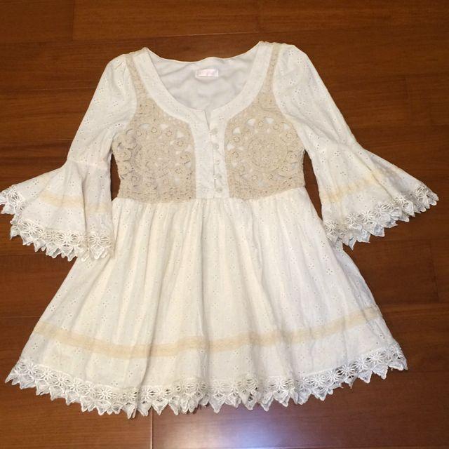 降價👍日本專櫃Liz Lisa 米白蕾絲連身短裙
