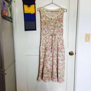 日本帶回-廣告女主角碎花lace八分古著洋裝(杏綠)