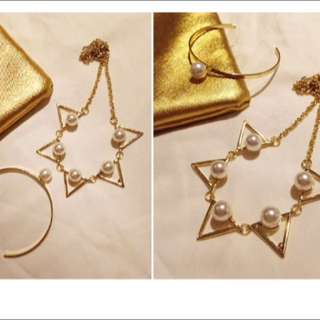 (全新)三角鋸齒珍珠造型黃金色項鍊✨
