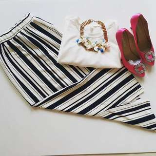 Thick Thin Stripe Long Skirt