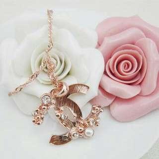 💠CHANEL玫瑰金水鑽珍珠中長款項鏈2013版
