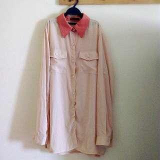 長版簡約淡粉色雪紡上衣
