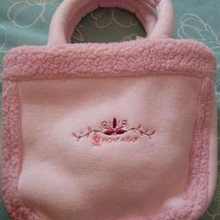 夢特嬌 粉紅/米色(冬季用)兩用小包