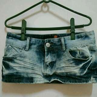 刷色牛仔褲裙