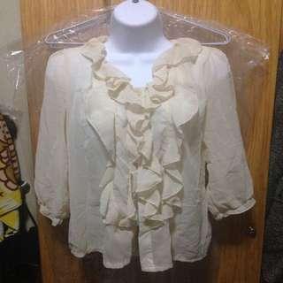 二手米白色荷葉邊領雪紡紗襯衫