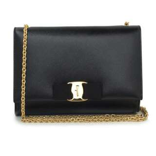 Ferragamo. Mini Ms Vara Black And Gold Flat Top Clutch Purse. No Trades Please.