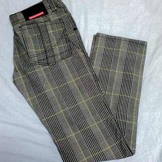 Penshoppe Denim Lab Gray Black Green Stripped Pants Slim fit Low Rise Size 30