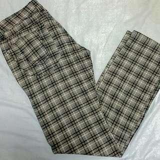 Penshoppe Denim Lab Blue Gray White Checkered Slim Fit Low Rise Size 30