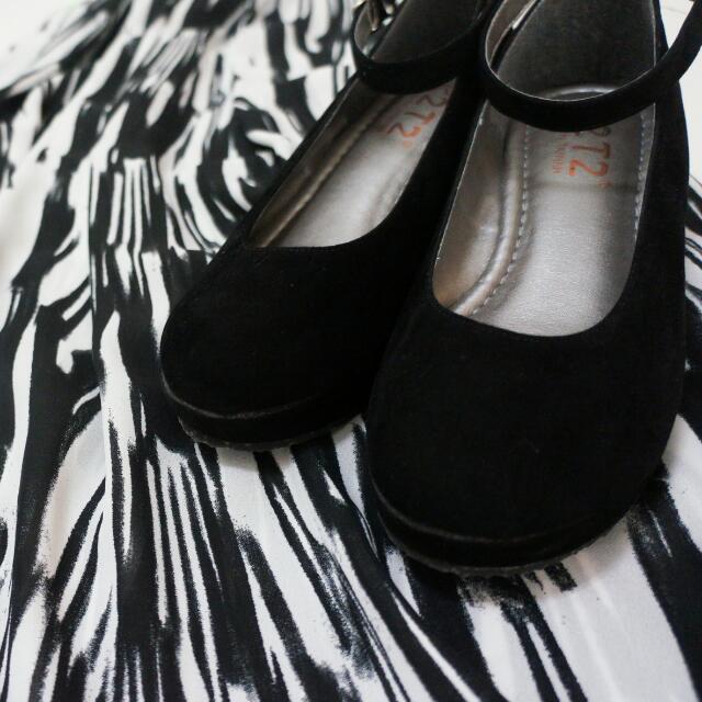 降價!黑絨厚底瑪麗珍女鞋(23號)