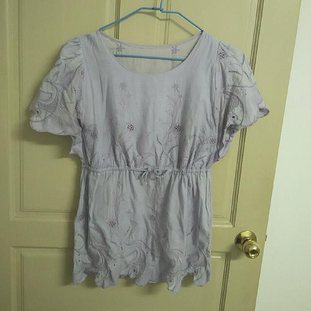 淺紫色棉麻上衣