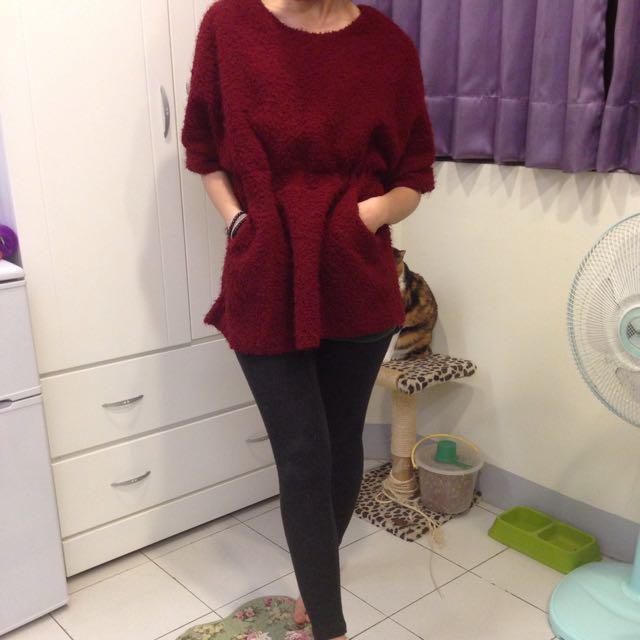 紅色毛絨洋裝