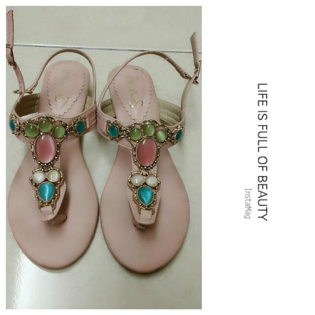 (待匯款)Anns馬卡龍寶石夾腳涼鞋