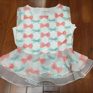正韓蝴蝶結縮腰上衣....降價了250