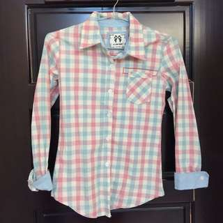 粉藍格子襯衫