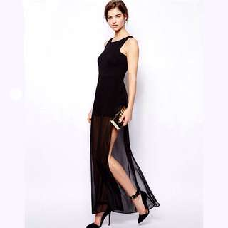 High Slit Black Mesh Prom Dress