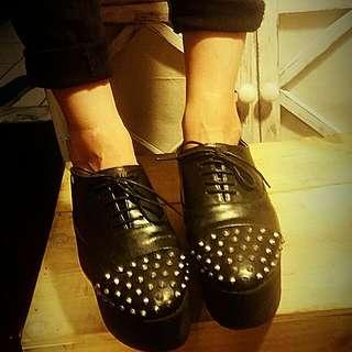 龐克鉚釘 鬆高 鞋