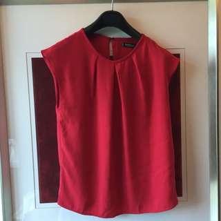 Mango 紅色雪紡上衣