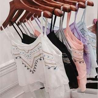 民族風新款夏季雪紡吊帶刺繡短款寬鬆小背心💋