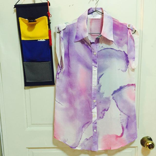 全新韓貨⭐️紫彩渲染無袖襯衫