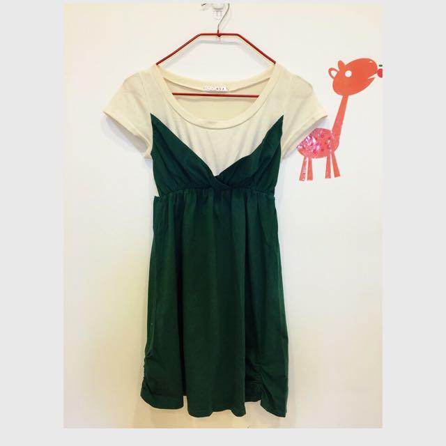 《二手》中長版粉黃配綠連身衣