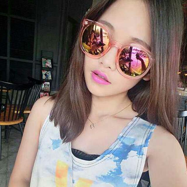 反光鏡片粉色太陽眼鏡