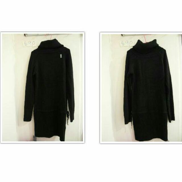 ➤編號 14 ∥ 超長版黑色高領針織衣