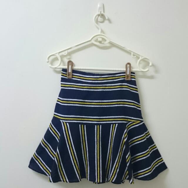 <正韓> 棉麻 條紋撞色 歐美風時尚 魚尾裙 短裙 窄裙 傘擺裙