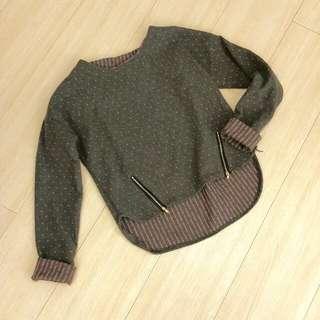 <保留>灰粉 短版毛衣 (內可搭牛仔襯衫)