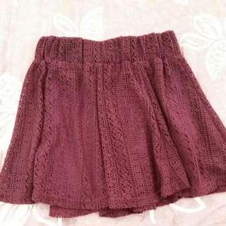 酒紅蕾絲絨面氣質裙