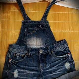 降價*可拆式 小口袋刷色韓版吊帶牛仔短褲