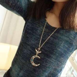 月牙鑽石毛衣鏈(全新