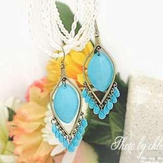 波西米亞風藍色水滴耳環(全新