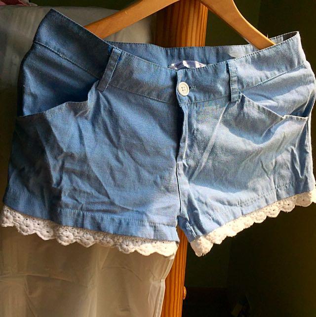 單寧感水藍短褲