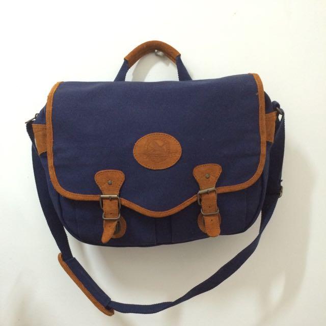 「降價」棕色麂皮x藍色帆布復古書包