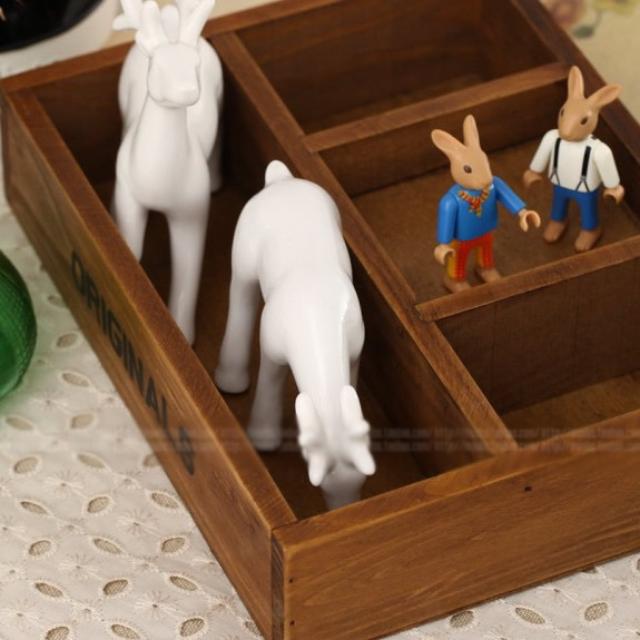 創意木質工藝品擺件 四格收納盒 糖果托盤
