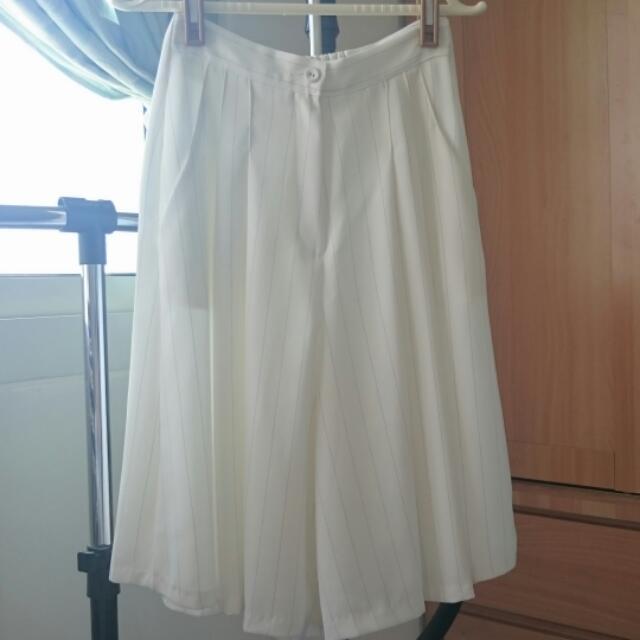<正韓> 9.5成新 雪紡 條紋 寬褲 白色