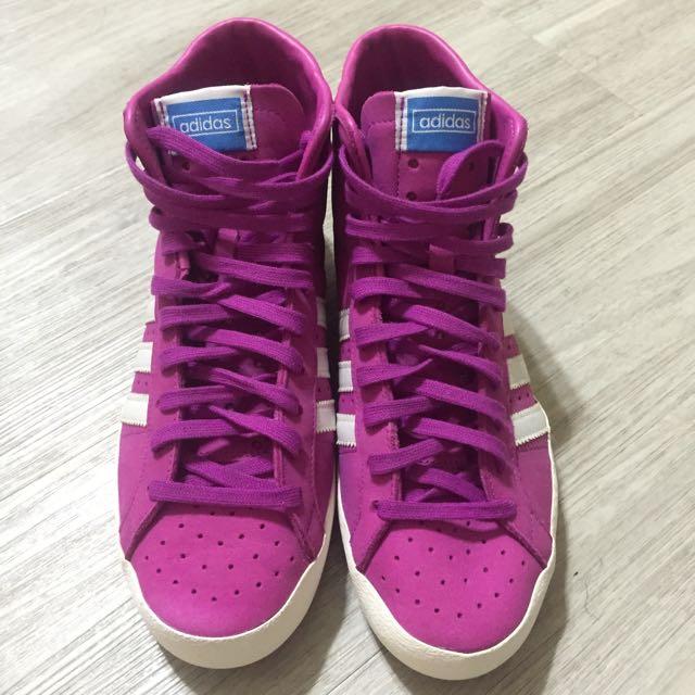 Adids中筒鞋(桃紅)