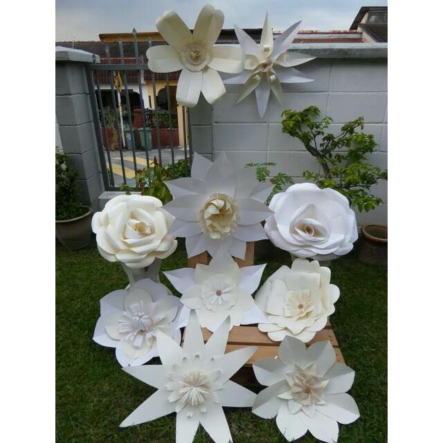 Big Paper Flowers White Series Sale Rent