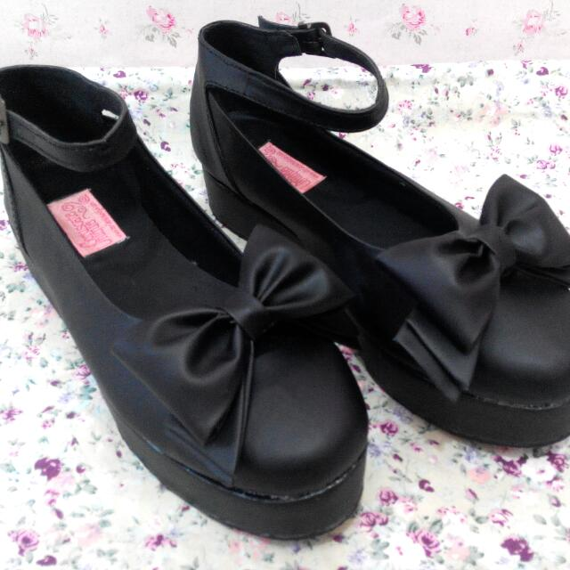 Black Lolita Shoes With Big Bow - Handmade