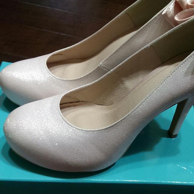 《全新》 DN 進口金蔥布高跟鞋