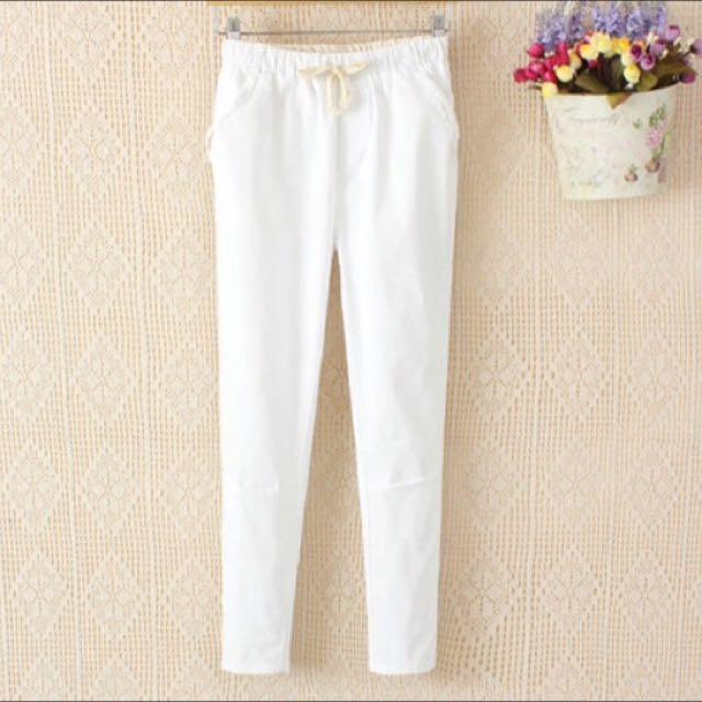 (保留)春夏款棉麻九分褲-白色M