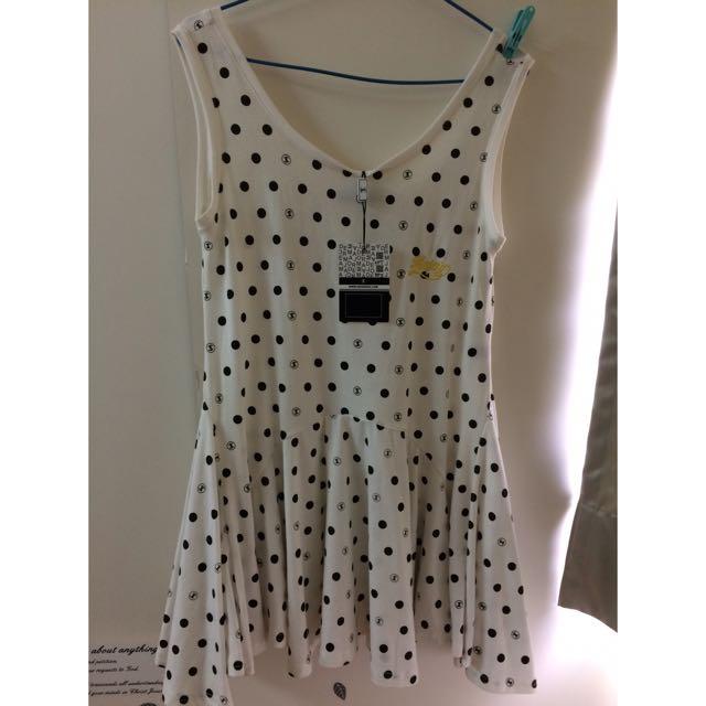 售全新Major 點點白色傘洋裝(含運)