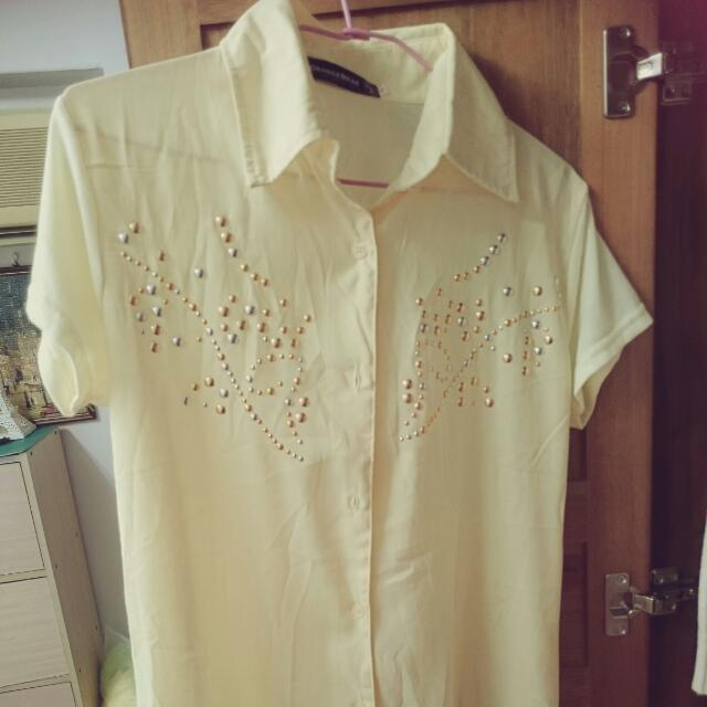 Orangebear 黃雪紡綿質長版拼接襯衫